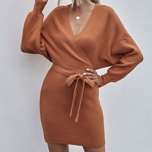 SHEIN Surplice Front Belted Ribbed Dress - Rust
